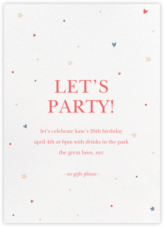 Hearts and Stars - Multi - Sugar Paper - Adult Birthday Invitations