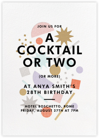 Cocktail Confetti - Paperless Post - Adult Birthday Invitations
