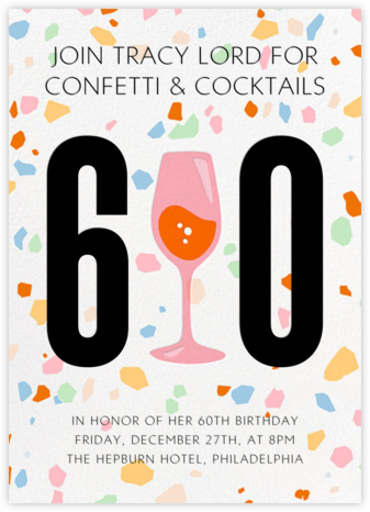 Party Terrazzo - Paperless Post - Milestone Birthday Invitations