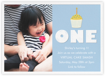 Cupcake First Birthday - Blue - Paper Source - Online Party Invitations