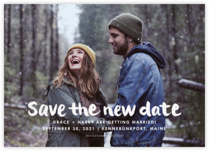 Stroke of Genius (New Date) - White - Linda and Harriett - Save the dates