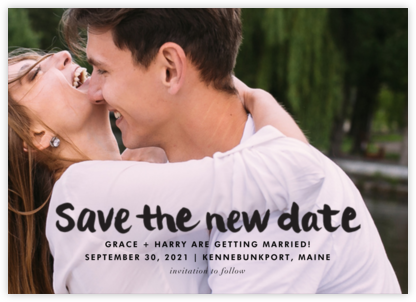 Stroke of Genius (New Date) - Black - Linda and Harriett - Wedding Save the Dates