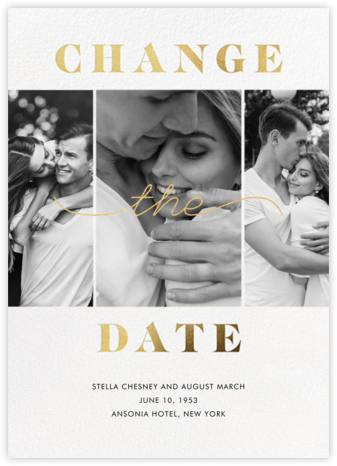 Suki - New Date - Paperless Post - Gold and metallic save the dates