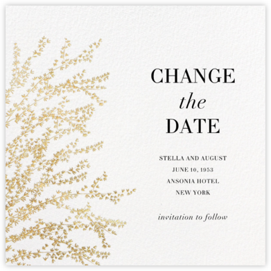 Forsythia (New Date) - Gold - Paperless Post - Gold and metallic save the dates