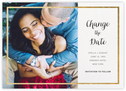 Idylle (Photo New Date) - White/Gold - Paperless Post - Photo save the dates