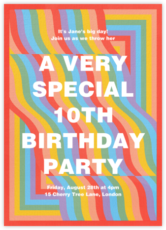 Rainbow Waves - Paperless Post - Kids' Birthday Invitations