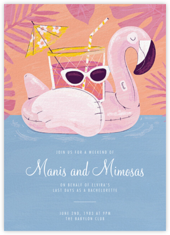 Flamingo Floatie - Paperless Post - Bachelorette party invitations