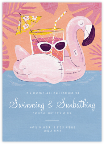 Flamingo Floatie - Paperless Post - Pool Party Invitations