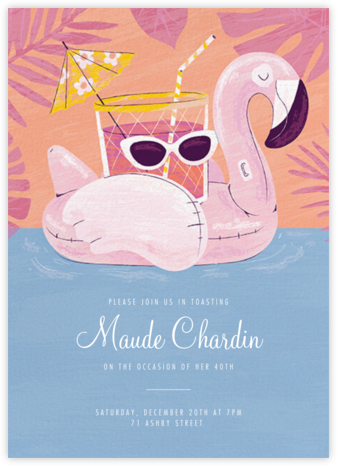 Flamingo Floatie - Paperless Post - Adult Birthday Invitations