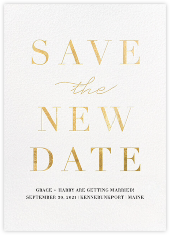 Remnant (New Date) - Gold - Paperless Post - Modern save the dates