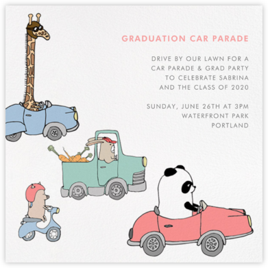 Automotive Animals - Paperless Post - Graduation Party Invitations