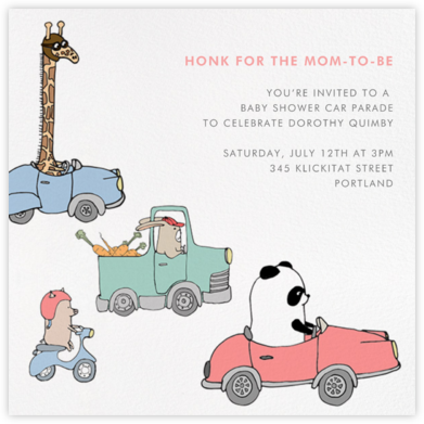 Automotive Animals - Paperless Post - Baby Shower Invitations