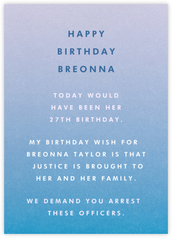 Gradient Full - Blue - Paperless Post - Breonna Taylor Birthday Cards