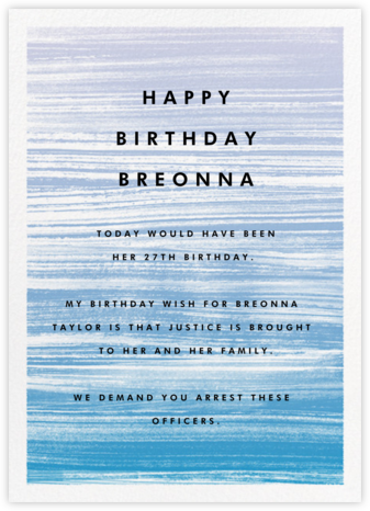 Gradient Messy Strokes - Blue - Paperless Post - Breonna Taylor Birthday Cards