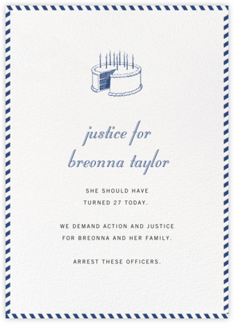 Stripe Border - Peacock - Paperless Post - Breonna Taylor Birthday Cards