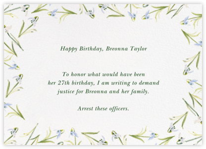 Snowdrop - Thinking of You - Paperless Post - Breonna Taylor Birthday Cards