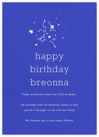 Universe Tall - Paperless Post - Breonna Taylor Birthday Cards