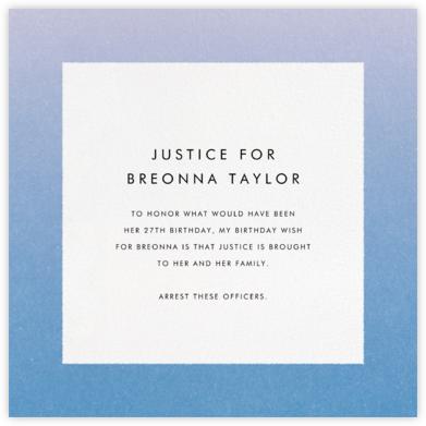 Gradient Border - Blue - Paperless Post - Breonna Taylor Birthday Cards