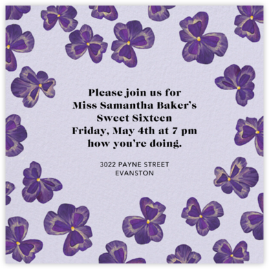 Purple Pansies - Anthropologie - Sweet 16 invitations