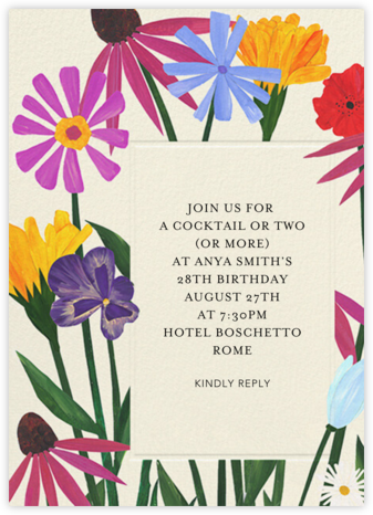 Bright Blooms - Anthropologie - Adult Birthday Invitations