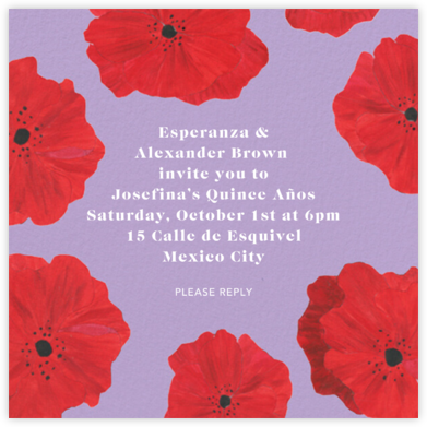 Red Petals - Lilac - Anthropologie - Quinceañera Invitations