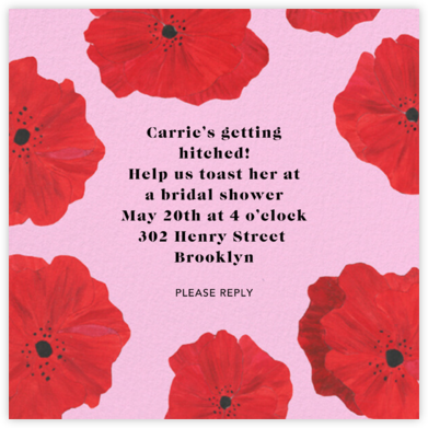 Red Petals - Carnation - Anthropologie - Bridal shower invitations