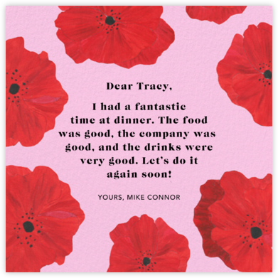 Red Petals - Carnation - Anthropologie - Online Thank You Cards