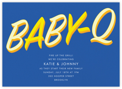 BabeBQ - Blue - Paperless Post - Baby Shower Invitations