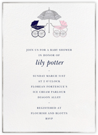 Pram - Blue/Pink - Paperless Post - Baby Shower Invitations