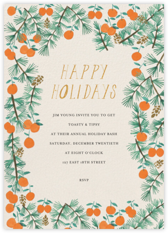 Citrus and Pine - Mr. Boddington's Studio - Holiday invitations