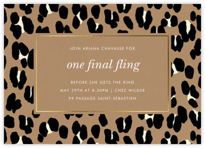 Bold Leopard - Toast - kate spade new york - Bachelorette party invitations