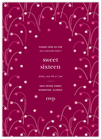 Long Stems - Raspberry - kate spade new york - Sweet 16 invitations