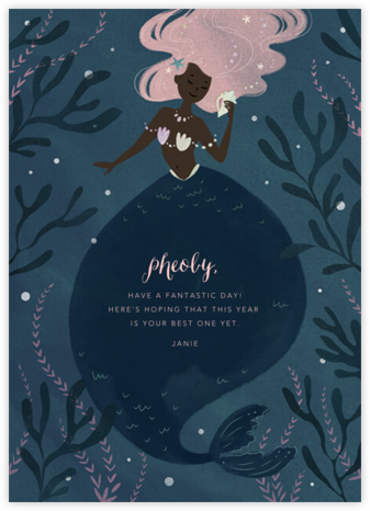 Mermaid Hideaway - Deep - Paperless Post - Birthday Cards for Her