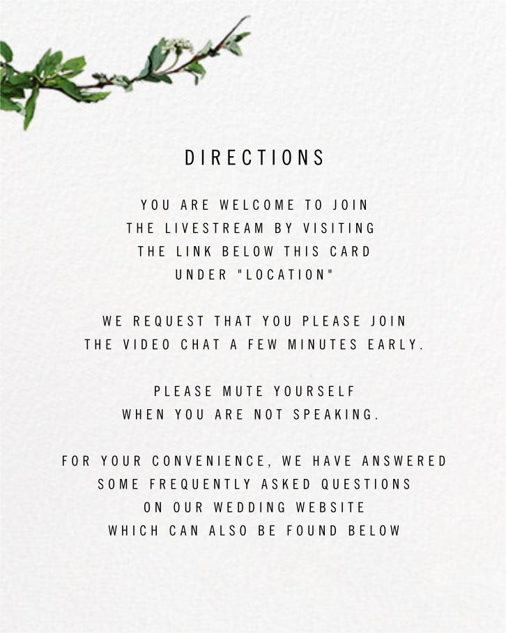 Chincoteague Vine - Paperless Post - Virtual wedding - insert front