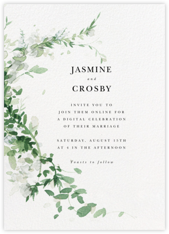 Watercolor Garland (Invitation) - Palm - Paperless Post - Virtual Wedding Invitations