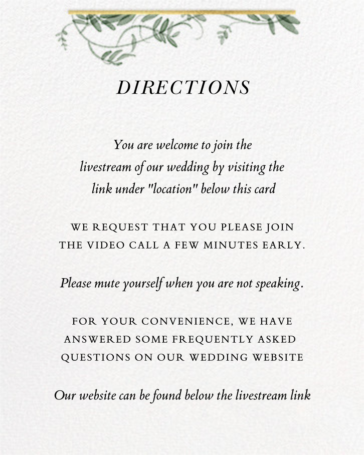 Thirlmere (Invitation) - Paperless Post - Virtual wedding - insert front