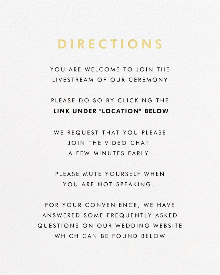 Smash Cut (Invitation) - Paperless Post - Virtual wedding - insert front