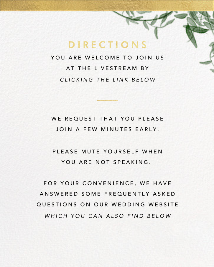 Deanei (Invitation) - Paperless Post - Virtual wedding - insert front
