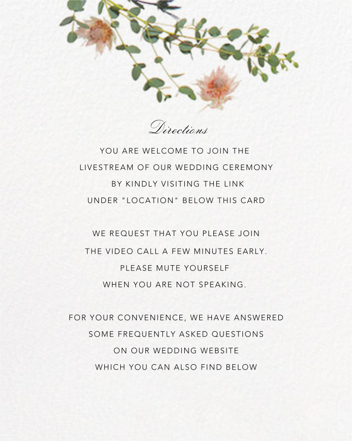 Fleurs Sauvages (Tall) - Paperless Post - Virtual wedding - insert front
