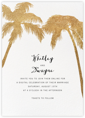 Tropical Palm - White - Paperless Post - Virtual Wedding Invitations