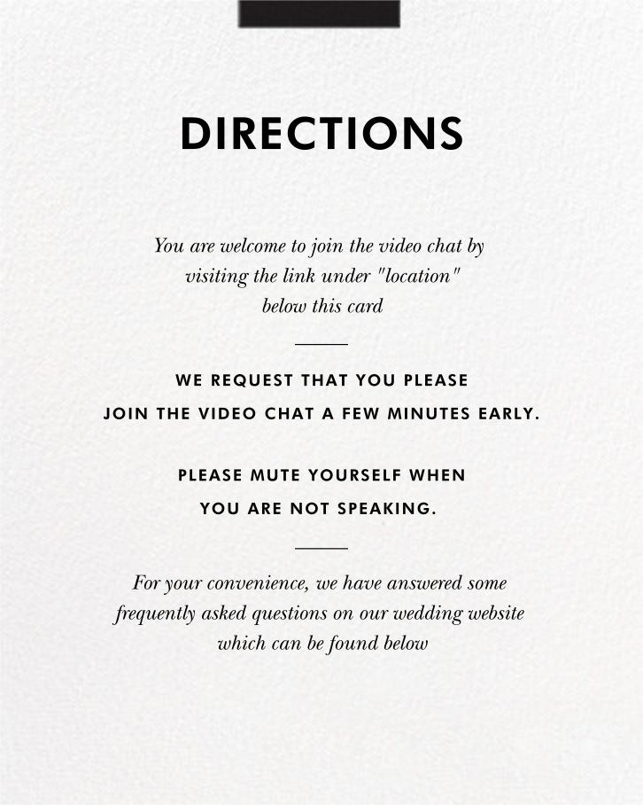 Hedcut (Invitation) - Paperless Post - Virtual wedding - insert front