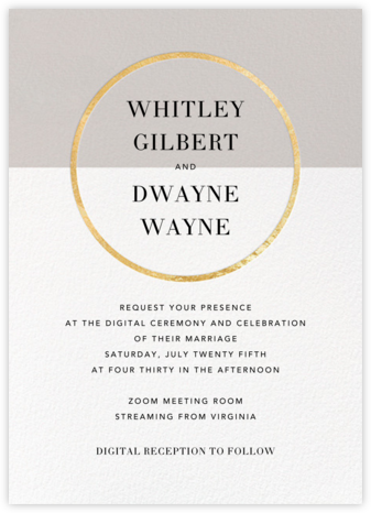Burgoyne (Invitation) - Oyster/Gold - Paperless Post - Virtual Wedding Invitations
