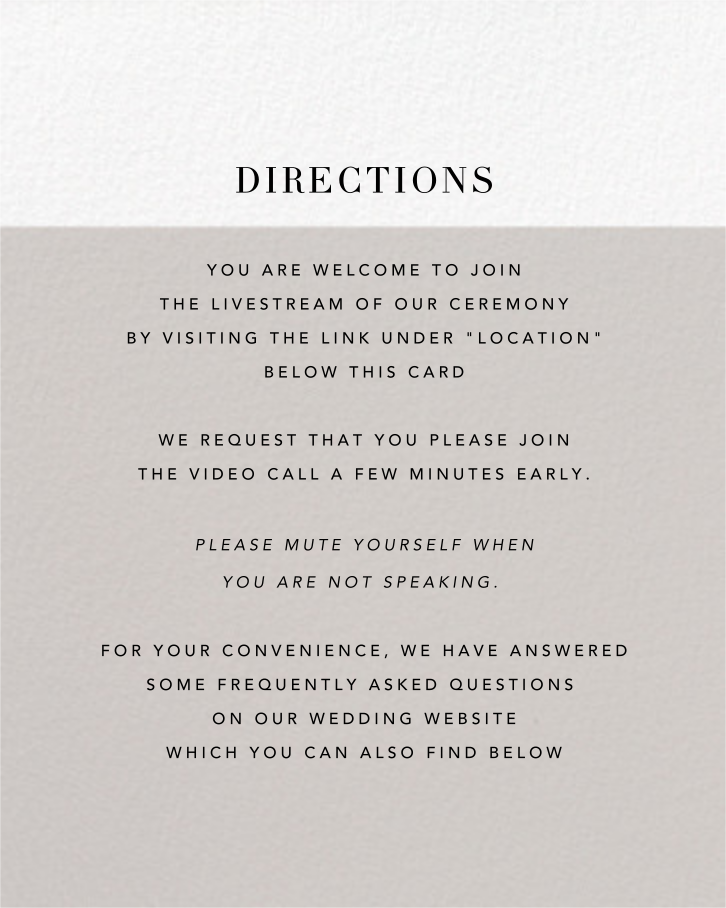 Burgoyne (Invitation) - Oyster/Gold - Paperless Post - Virtual wedding - insert front