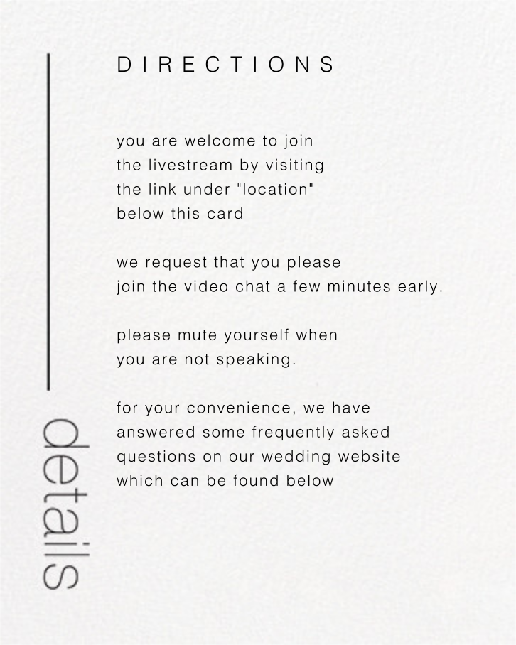 Ando (Invitation) - Gold - Paperless Post - Virtual wedding - insert front