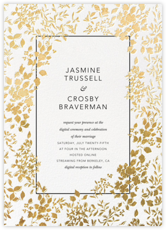 Richmond Park (Invitation) - White/Gold - Oscar de la Renta - Virtual Wedding Invitations