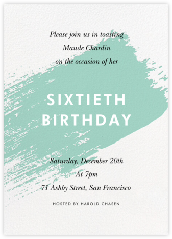 Impasto - Celadon - Paperless Post - Adult Birthday Invitations
