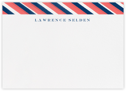 Diagonal Stripe - Coral Dark Navy - Paperless Post - Personalized Stationery