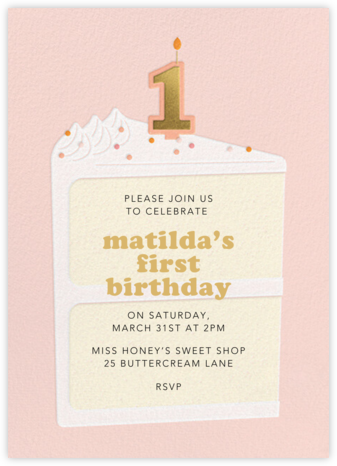 Gold Candle - Meringue - Paperless Post - First Birthday Invitations