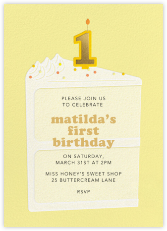 Gold Candle - Lemon Drop - Paperless Post - First Birthday Invitations