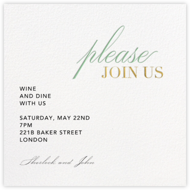 Won't You Please - Paperless Post - Dinner Party Invitations
